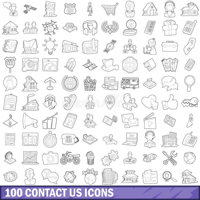 100 nos entran en contacto con los iconos fijados, estilo del esquema libre illustration