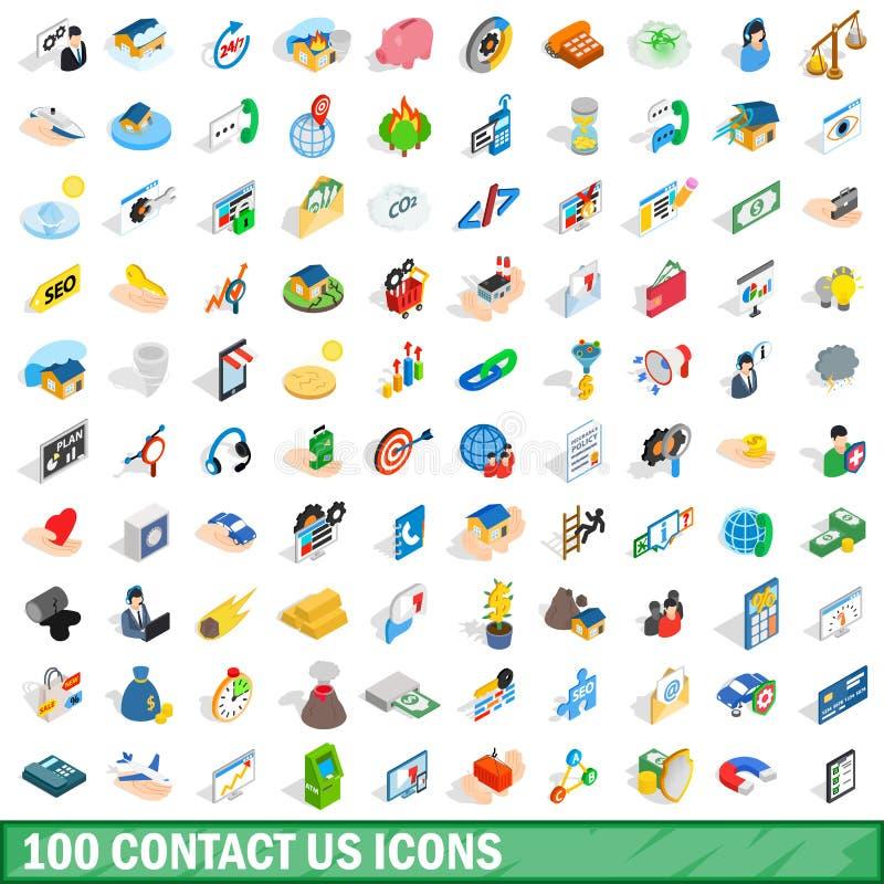 100 nos entran en contacto con los iconos fijados, estilo isométrico 3d ilustración del vector
