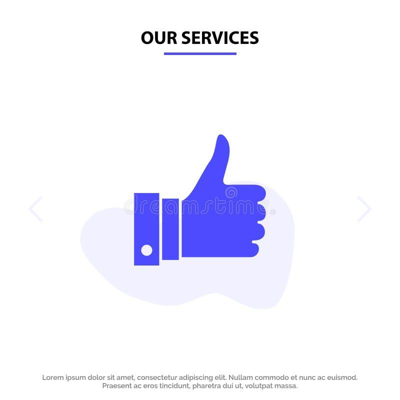 Nos services apprécient, des remarques, bonnes, comme le calibre solide de carte de Web d'icône de Glyph illustration de vecteur