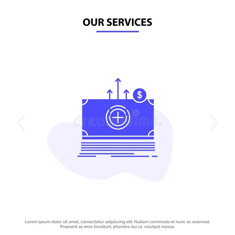 Nos services argent, dollar, médical, calibre solide de carte de Web d'icône de Glyph de transfert illustration stock