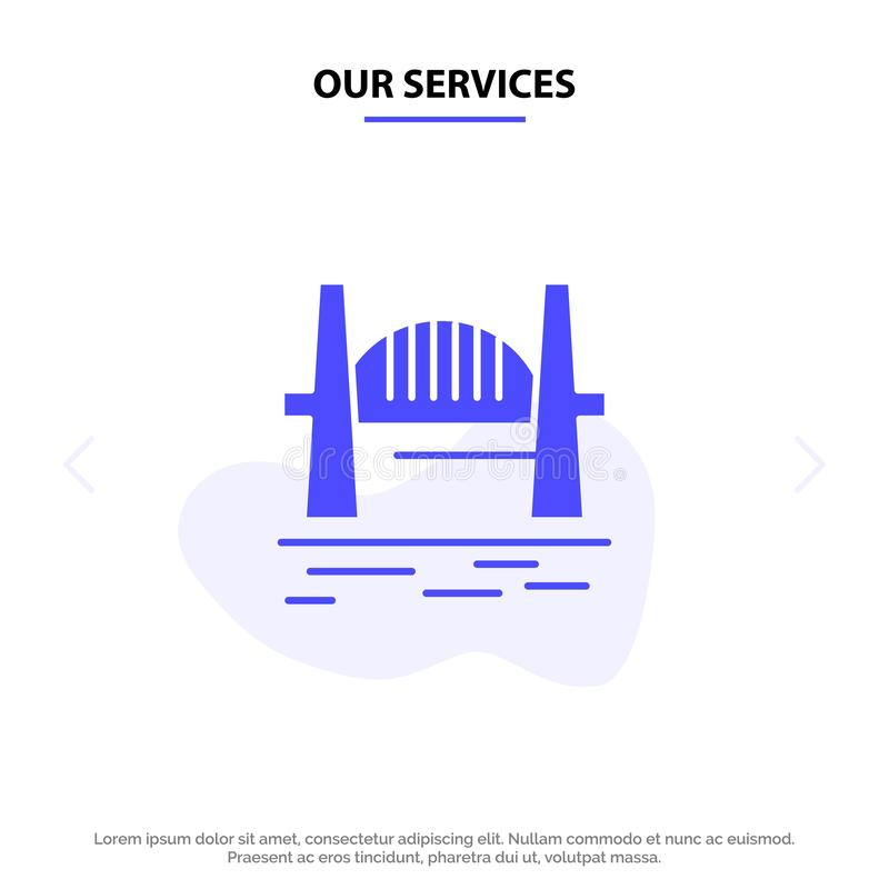 Nos services Australie, pont, ensembles de ville, port, calibre de carte de Sydney Solid Glyph Icon Web illustration libre de droits