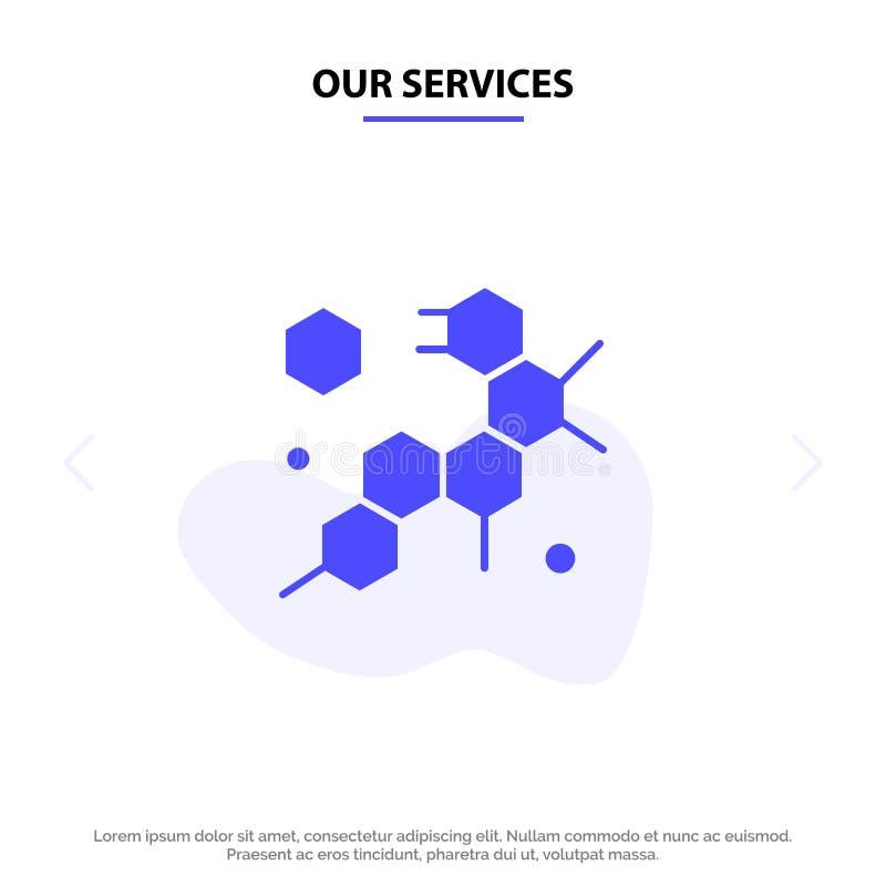 Nos services cellule, molécule, calibre solide de carte de Web d'icône de Glyph de la Science illustration stock