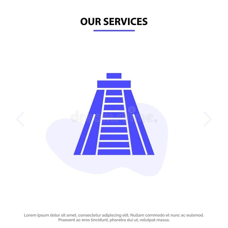 Nos services Chichen Itza, point de repère, calibre solide de carte de Web d'icône de Glyph de monument illustration libre de droits