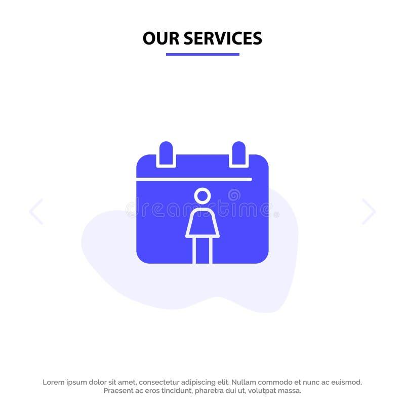 Nos services classent, calibre solide femelle de carte de Web d'icône de Glyph illustration stock