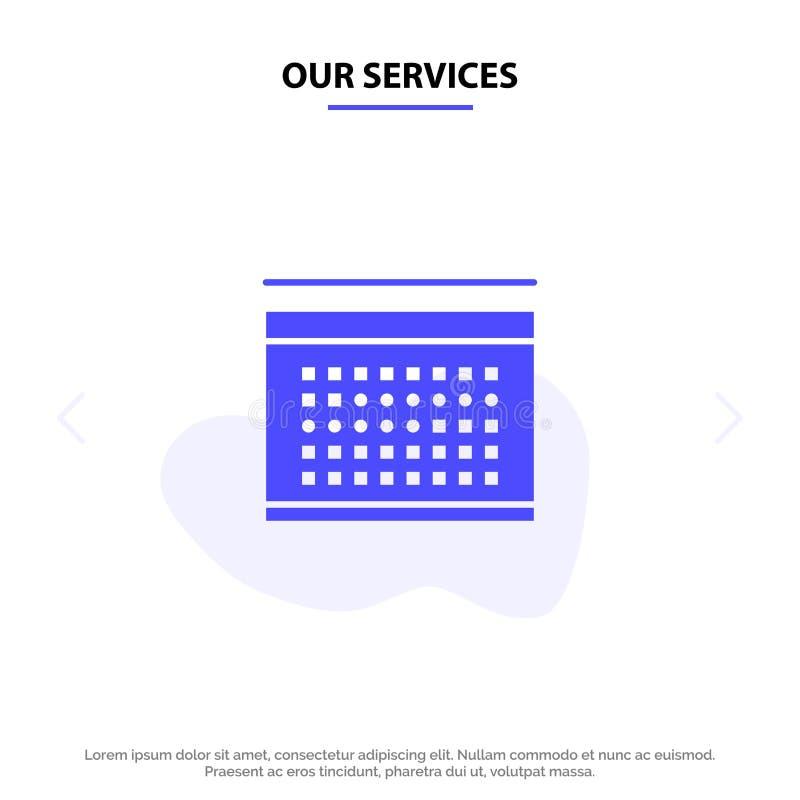 Nos services classent, des vacances, date, calibre solide de carte de Web d'icône de Glyph de vacances illustration stock