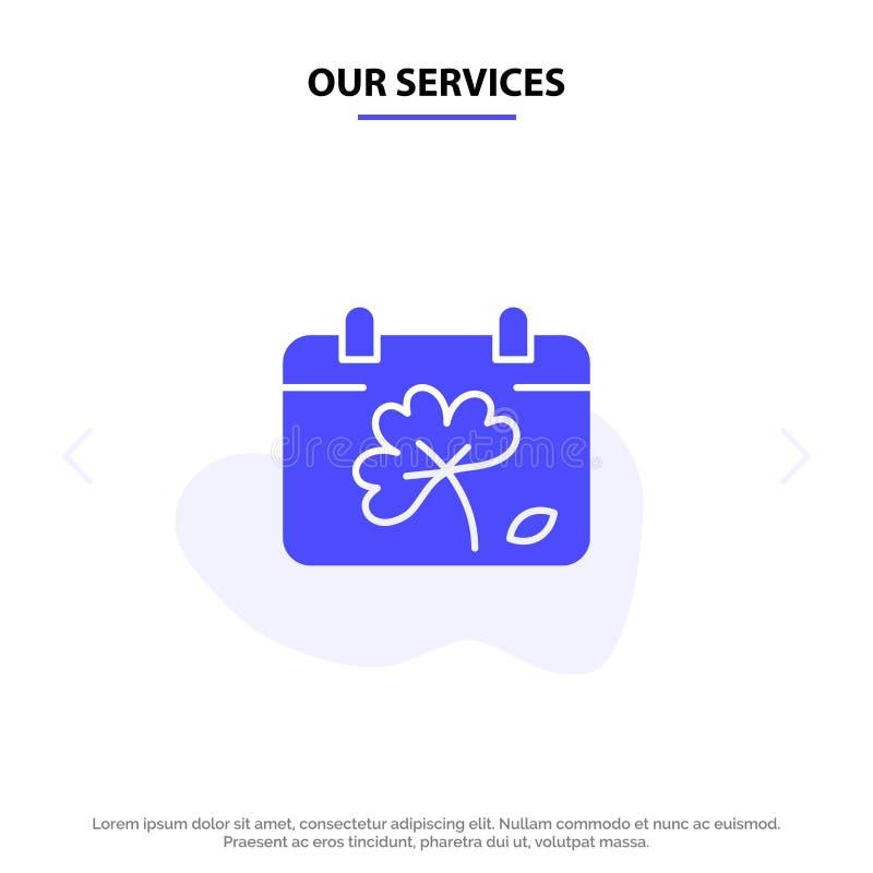 Nos services classent, fleurissent, jour, calibre solide de carte de Web d'icône de Glyph de ressort illustration libre de droits