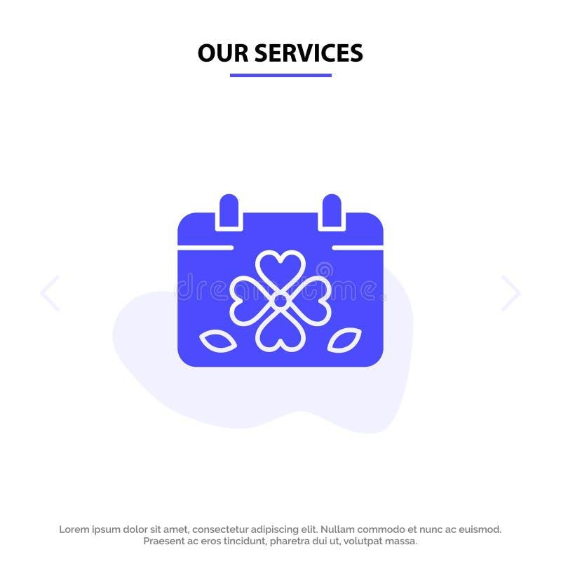 Nos services classent, trèfle, jour, feuille, calibre de carte de Patrick Solid Glyph Icon Web illustration de vecteur