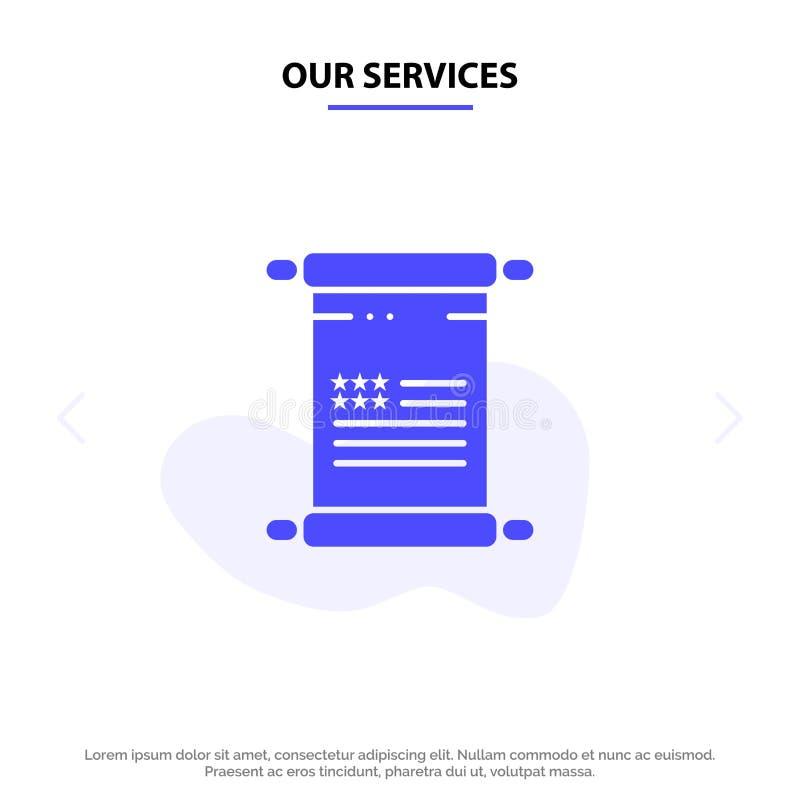 Nos services font défiler, texte, Américain, calibre solide de carte de Web d'icône de Glyph des Etats-Unis illustration de vecteur