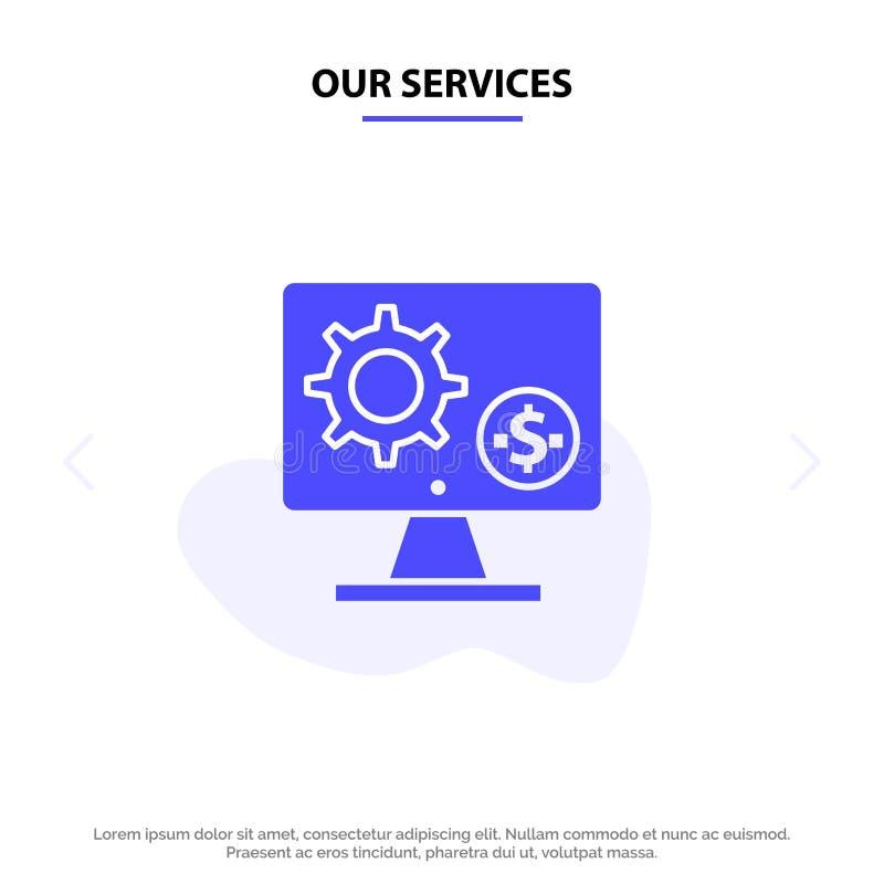 Nos services générateur, moniteur, écran, arrangement, vitesse, calibre solide de carte de Web d'icône de Glyph d'argent illustration libre de droits