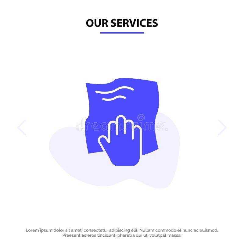 Nos services nettoyant, main, les travaux domestiques, bande de frottement, frottent le calibre solide de carte de Web d'icône de illustration libre de droits