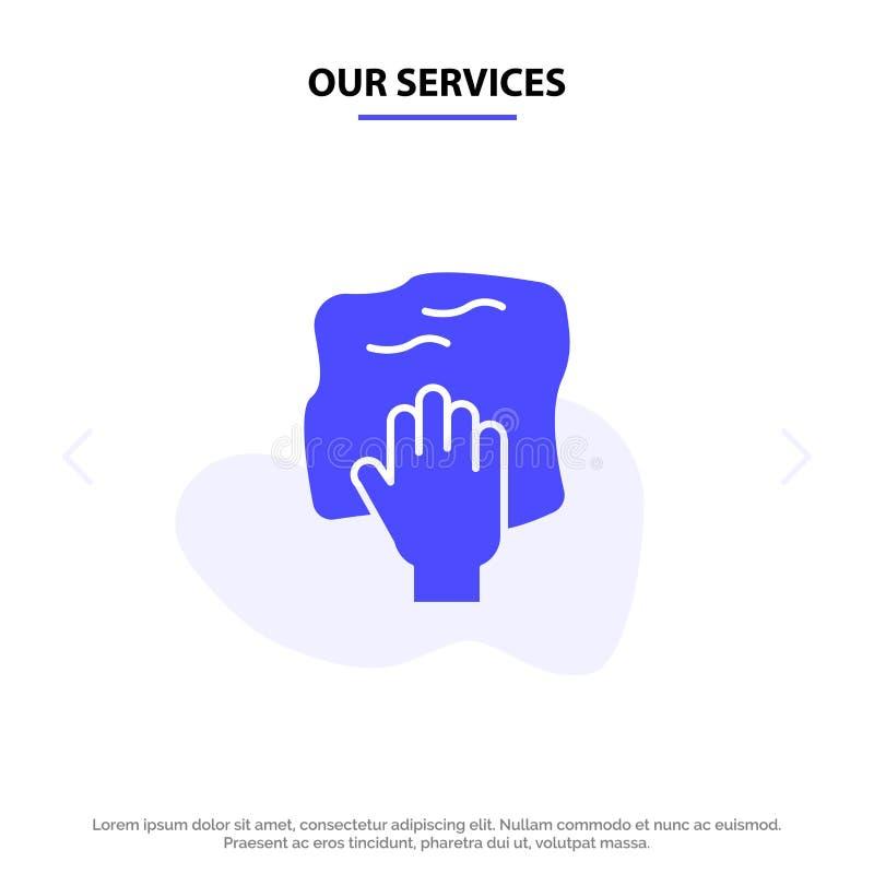 Nos services nettoyant, main, les travaux domestiques, bande de frottement, frottent le calibre solide de carte de Web d'icône de illustration stock