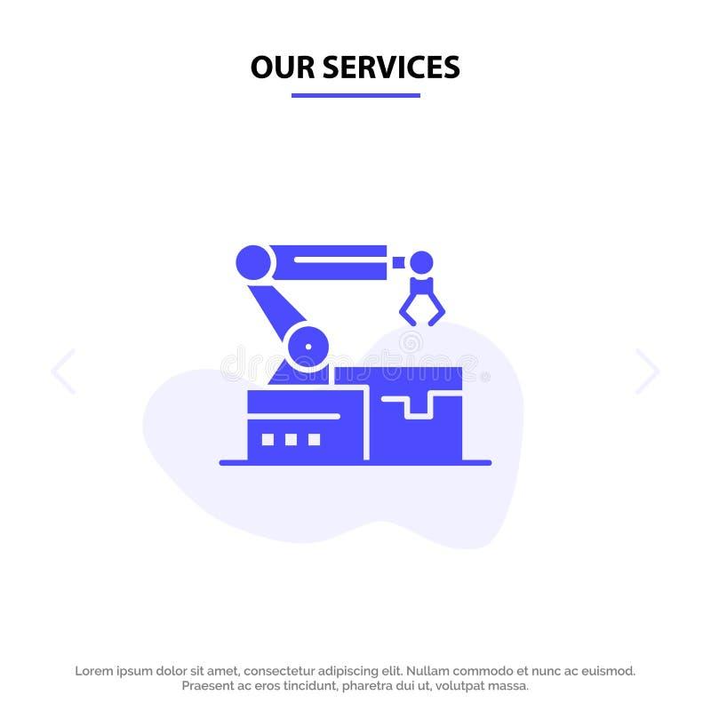 Nos services ont automatisé, robotique, bras, calibre solide de carte de Web d'icône de Glyph de technologie illustration stock