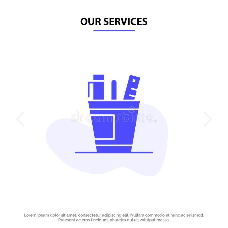 Nos services parquent, bureau, bureau, organisateur, approvisionnements, approvisionnement, calibre solide de carte de Web d'icôn illustration libre de droits