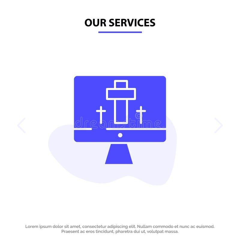 Nos services surveillent, examinent, Pâques, calibre solide de carte de Web d'icône de Glyph d'oeufs illustration libre de droits