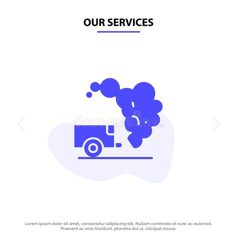 Nos services vident, environnement, déchets, calibre solide de carte de Web d'icône de Glyph de pollution illustration de vecteur