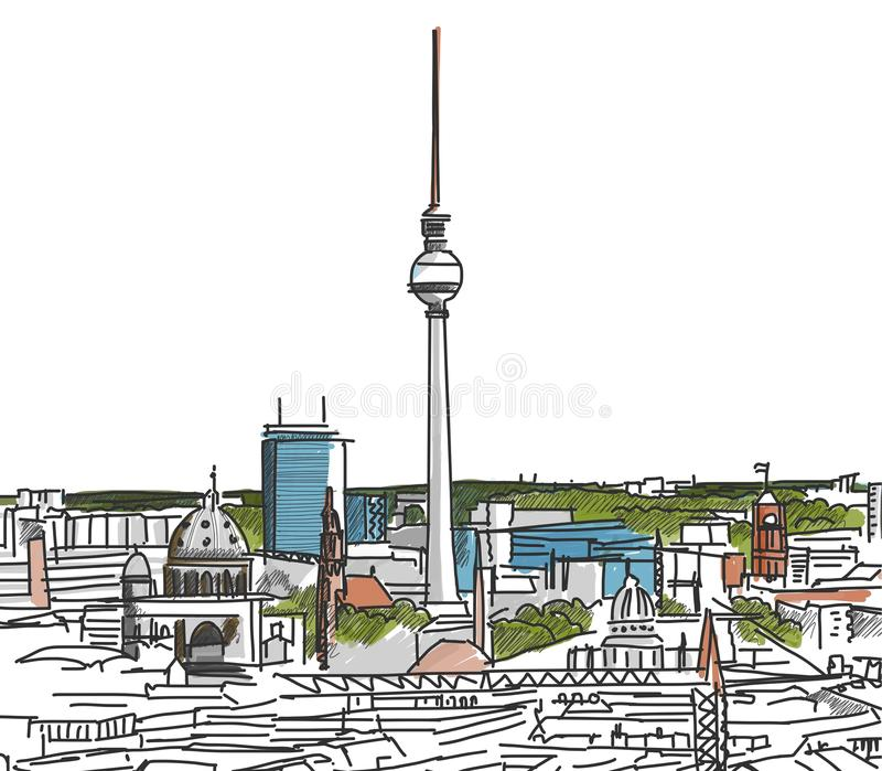 Nos telhados de Berlin Watercolored Scribble ilustração royalty free