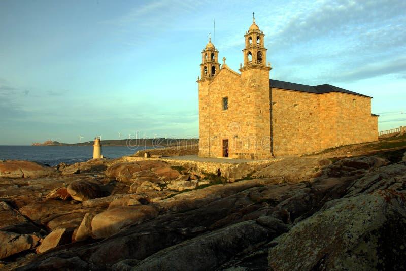 Nosa Senora av den Barca kyrkan, Muxia, Spanien royaltyfri foto