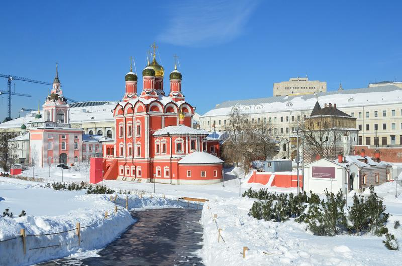 Noscow, Russia, March, 06, 2018. Znamensky monastery and Chambers of Romanov boyars in sunny spring day on Varvarka street. Noscow, Russia, Znamensky monastery stock image