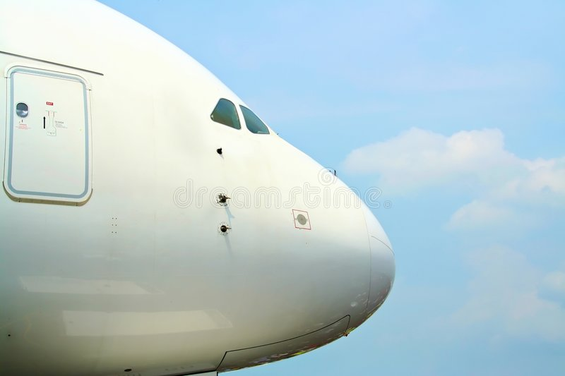 Download Nose of an Airbus A380 stock photo. Image of detail, door - 4650506