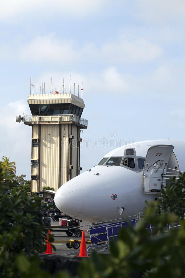 Download Nose Of Commercial Jet With Control Tower Stock Image - Image: 20169165