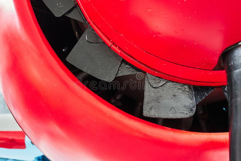 The nose of the engine plane close-up royalty free stock photo