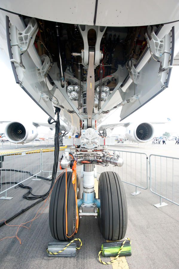 Nose gear of the Airbus A350 at the Singapore Airshow 2014. The nose gear of the Airbus A350-900 XWB, Airbus' newest plane, on the tarmac at the Singapore royalty free stock photos