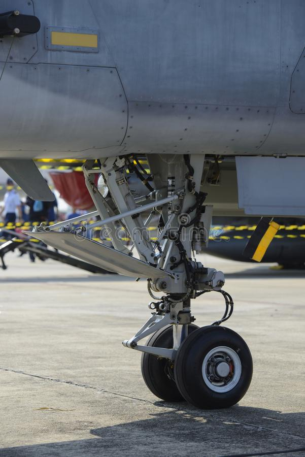 Nose landing gear of military fighter plane royalty free stock images