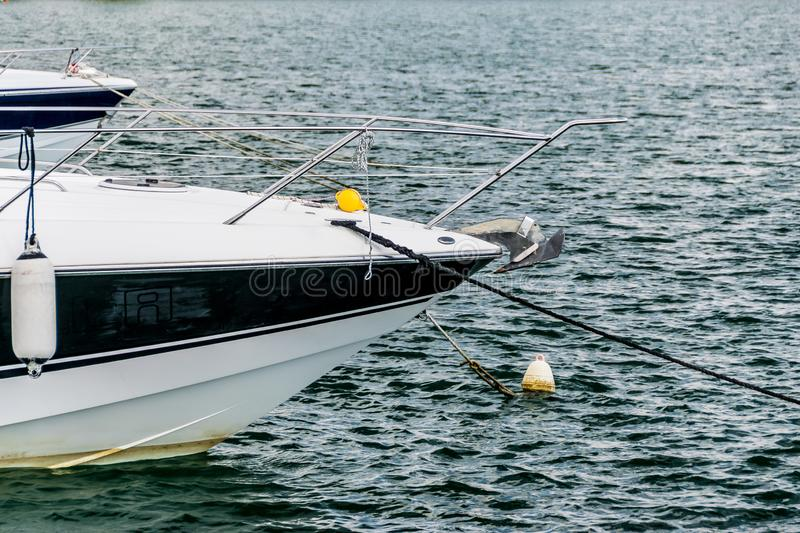 Nose of the motor boats. Mooring in the marina stock photos