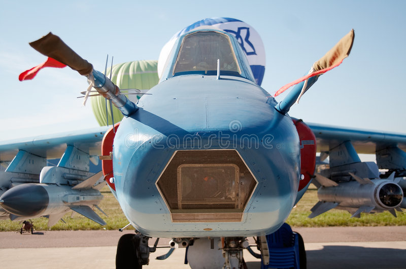 Nose of the plane. Nose of the warplane royalty free stock images