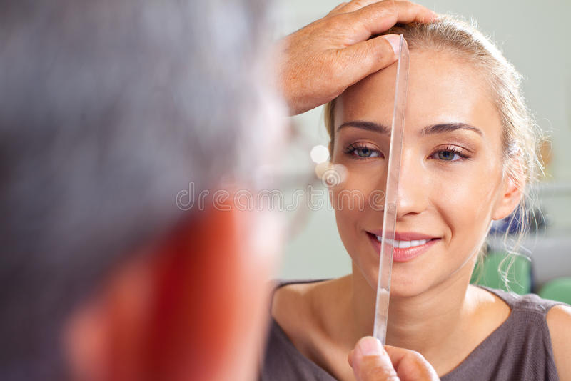 Nose plastic surgery preparation stock photo