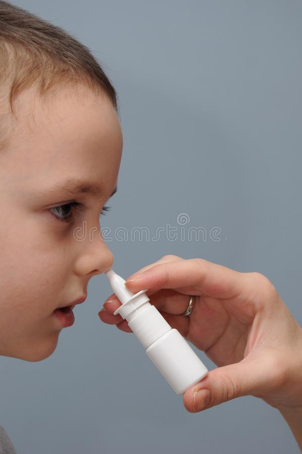 Nose spray for children stock images