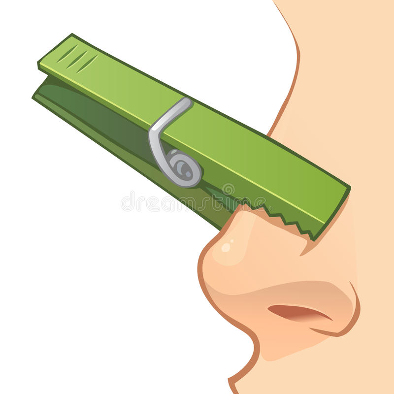 Free Nose With Clothespin Royalty Free Stock Photo - 56250705