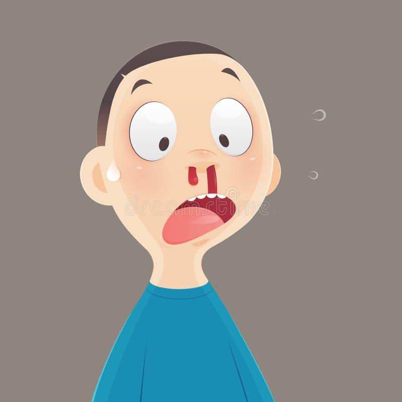 Nosebleed, kreskówki chłopiec krwawi od jego nosa ilustracja wektor