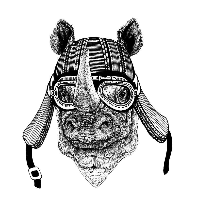 Noshörning för löst hjälm för motorcykel cyklistdjur för noshörning bärande Utdragen bild f?r hand f?r tatueringen, emblem, emble vektor illustrationer