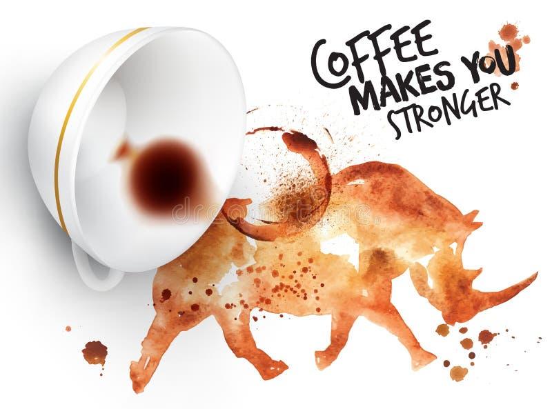 Noshörning för löst kaffe för affisch royaltyfri illustrationer