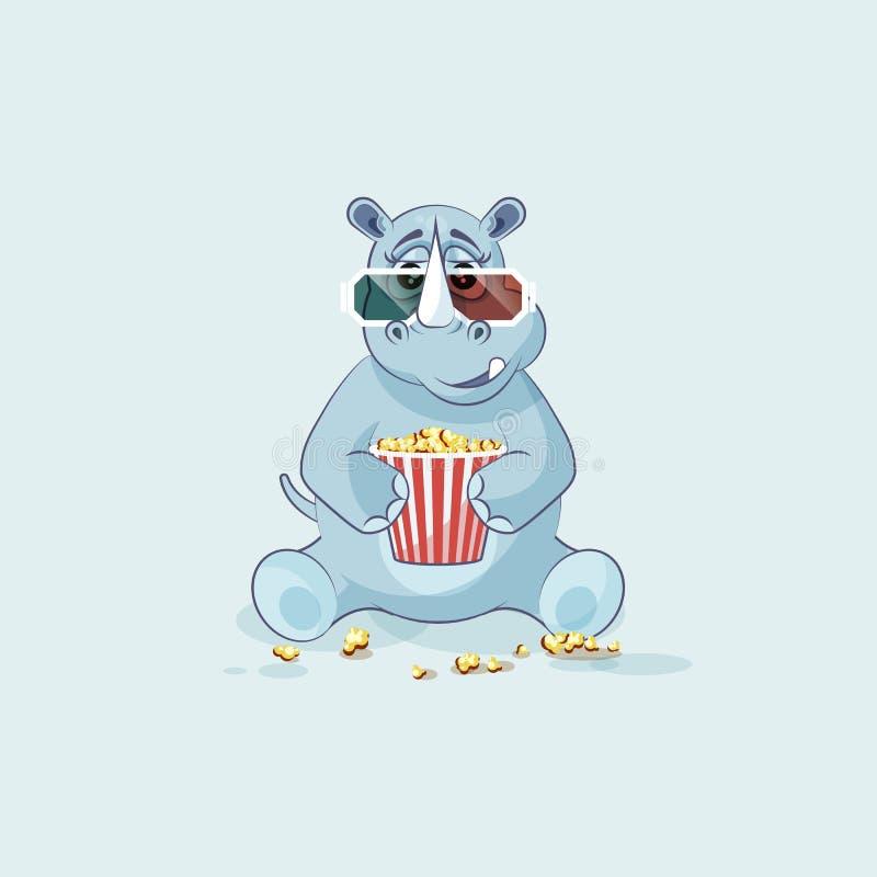 Noshörning för tecknad film för illustrationemojitecken som tuggar popcorn, hållande ögonen på för exponeringsglasklistermärke fö royaltyfri illustrationer