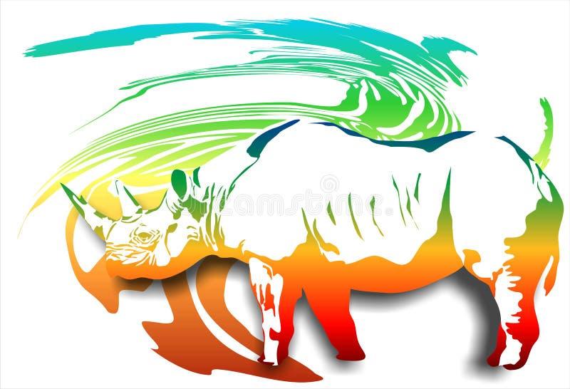 Noshörning på en abstrakt bakgrund (Vektor) royaltyfri illustrationer
