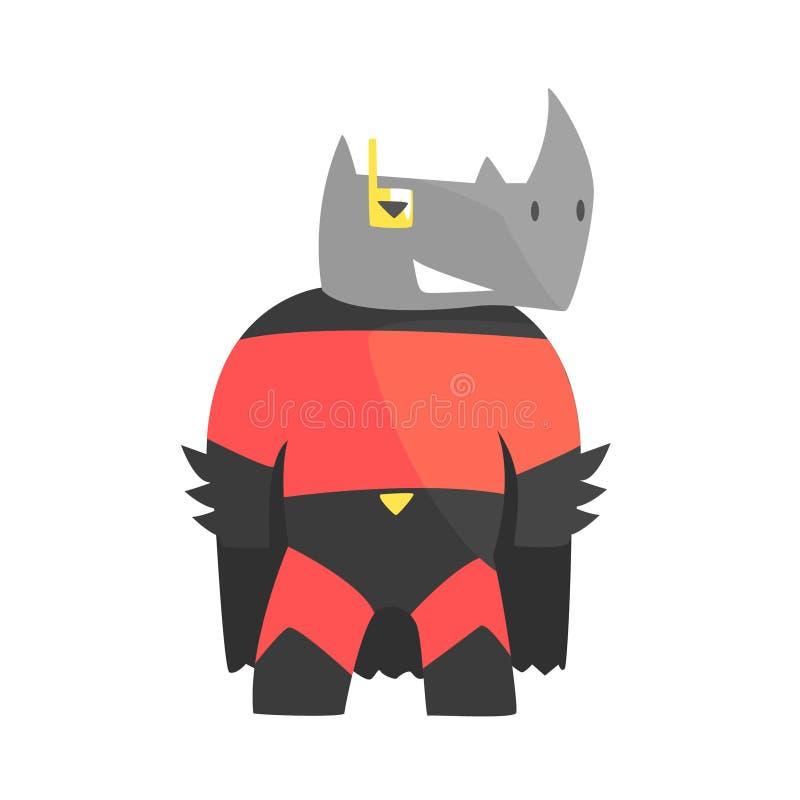 Noshörning som ler djuret som kläs som Superhero med tecken för vigilante för udde ett komiker maskerat geometriskt stock illustrationer