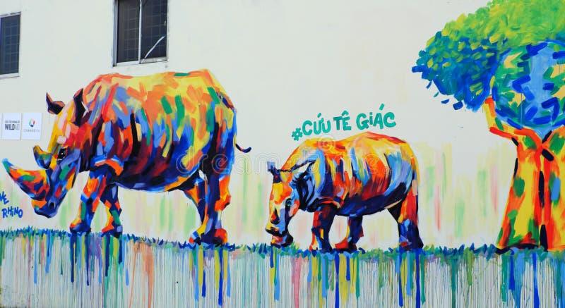 Noshörning vid grafittikonst, noshörningmålning royaltyfri fotografi