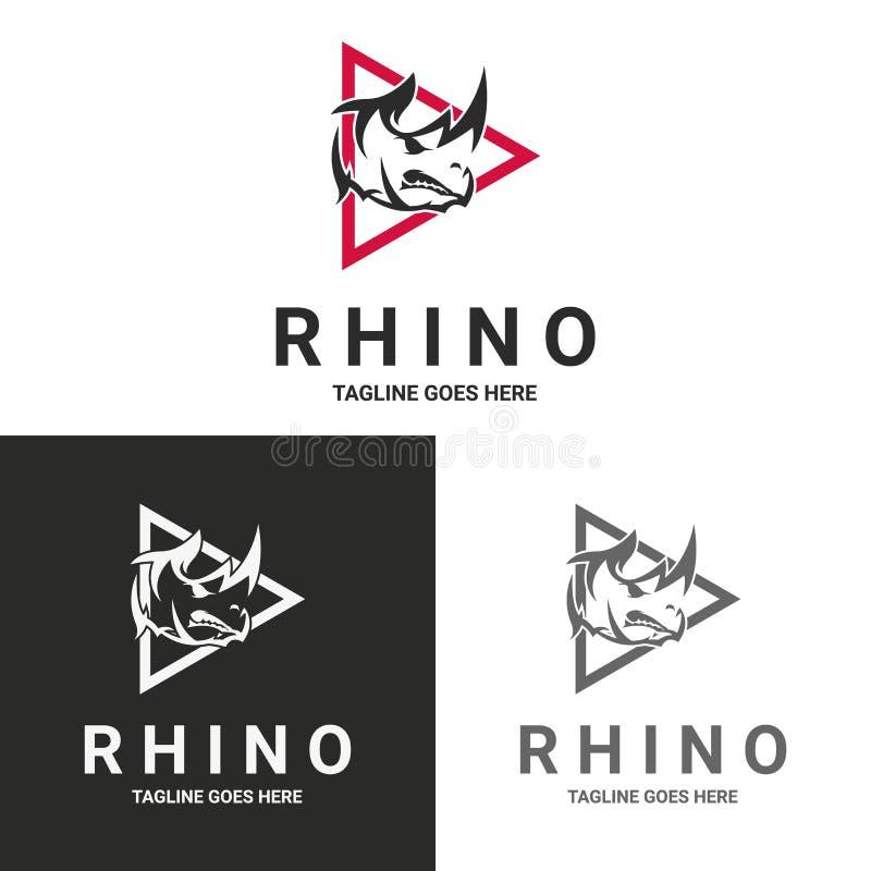 Noshörninglogo royaltyfri illustrationer