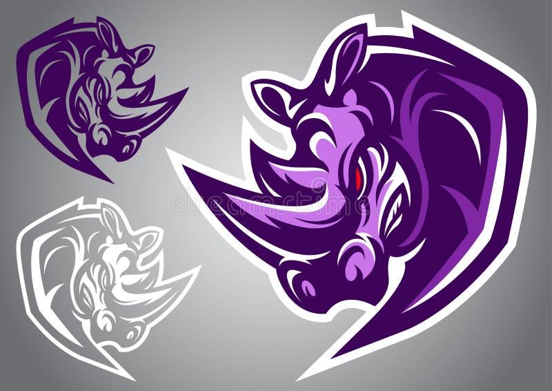 Noshörninglogovektor royaltyfri illustrationer