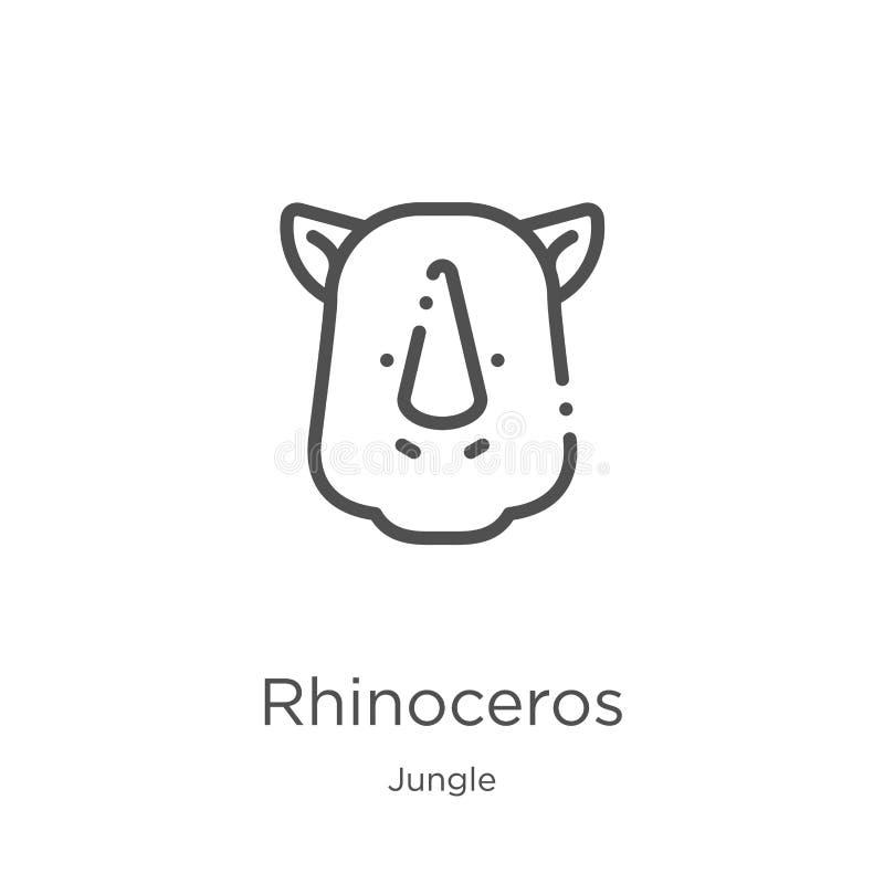 noshörningsymbolsvektor från djungelsamling Tunn linje illustration för vektor för noshörningöversiktssymbol ?versikt tunn linje stock illustrationer