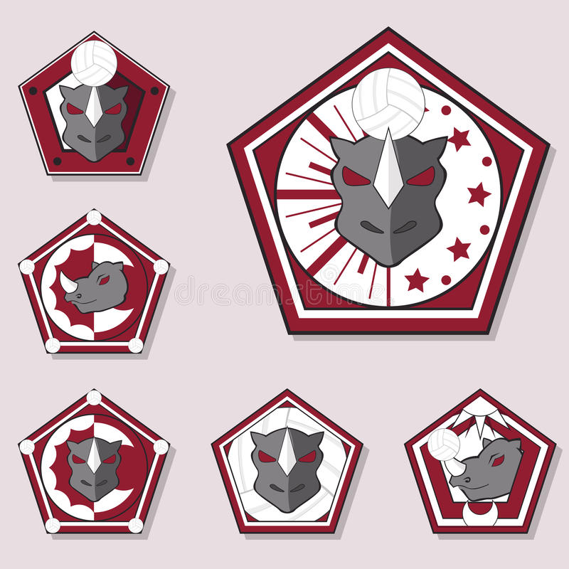 Noshörningvolleybolllogo royaltyfri illustrationer