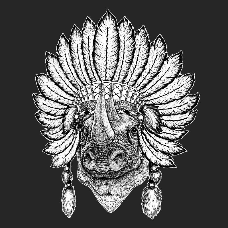 Nosorożec, nosorożec boho pióropuszu Tradycyjnego etnicznego indyjskiego Plemiennego szamanu kapeluszowy Ceremonialny element ilustracja wektor