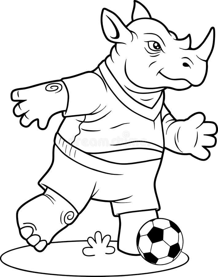 Nosorożec cieszy się bawić się piłkę nożną ilustracja wektor