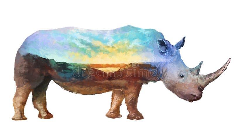 Nosorożec dwoistego ujawnienia ilustracja royalty ilustracja