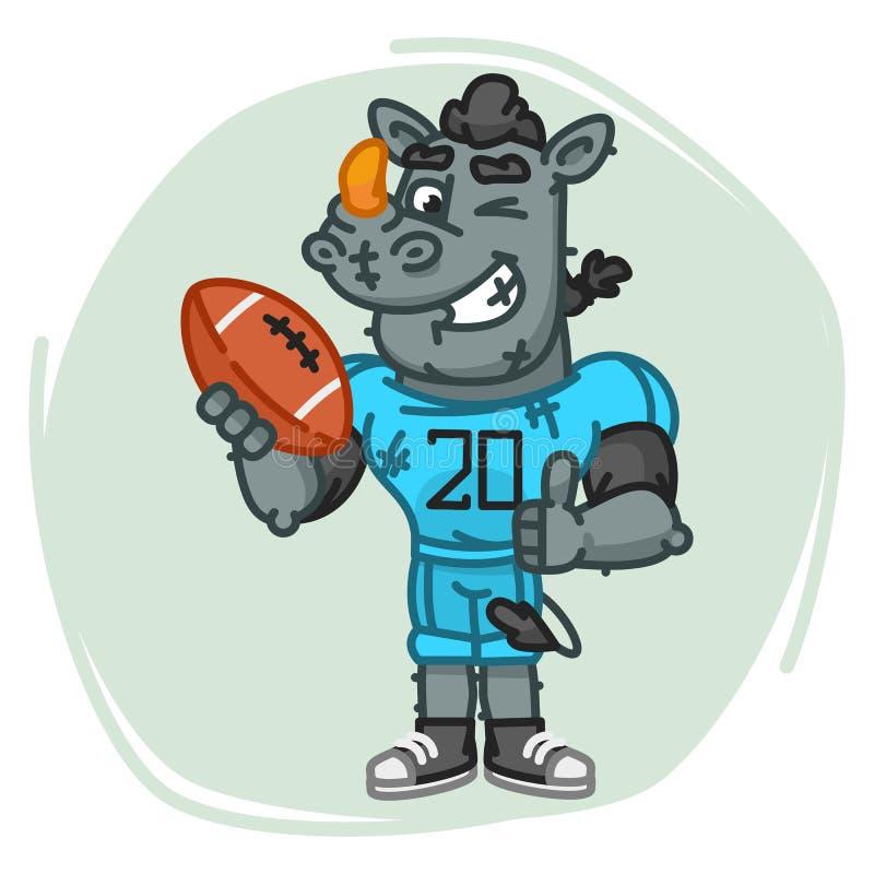 Nosorożec gracz futbolu Trzyma Balowe przedstawienie aprobaty, mrugnięcia i ilustracja wektor