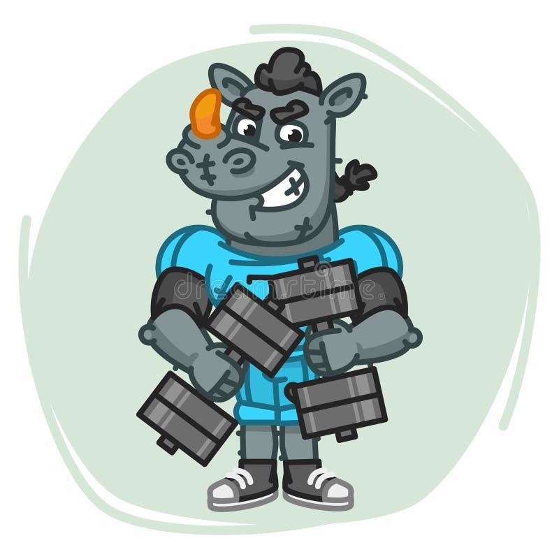 Nosorożec gracz futbolu Trzyma Dwa Dumbbells royalty ilustracja