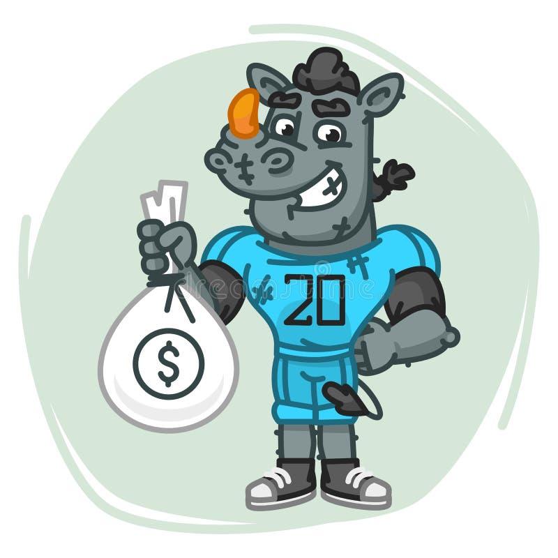 Nosorożec gracz futbolu Trzyma pieniądze torbę royalty ilustracja