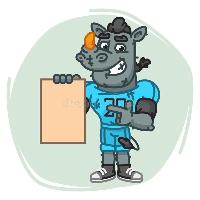 Nosorożec gracz futbolu Wskazuje na Pustego prześcieradła papierze ilustracja wektor